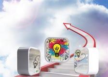 Imagen compuesta de bombillas en la pantalla abstracta ilustración del vector