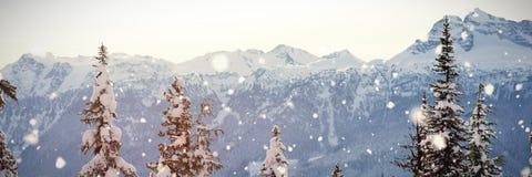 Imagen compuesta de caer de la nieve imagenes de archivo