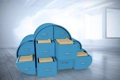 Imagen compuesta de cajones azules en forma de la nube con las carpetas 3d Imagen de archivo libre de regalías