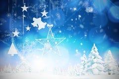 Imagen compuesta de colgar decoraciones rojas de la Navidad Fotografía de archivo libre de regalías