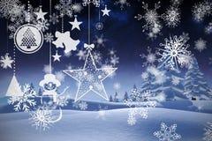 Imagen compuesta de colgar decoraciones rojas de la Navidad Foto de archivo
