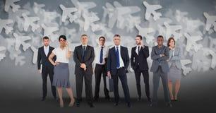 Imagen compuesta de Digitaces de hombres de negocios étnicos multi con el fondo del aeroplano ilustración del vector