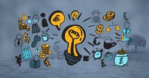 Imagen compuesta de Digitaces de la bombilla rodeada con los diversos iconos Imágenes de archivo libres de regalías