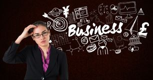 Imagen compuesta de Digitaces de la empresaria tensada con el texto del negocio y diversos iconos en fondo Imagen de archivo