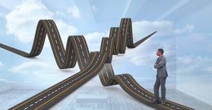 Imagen compuesta de Digitaces del hombre de negocios con los caminos ondulados Fotografía de archivo libre de regalías