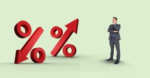 Imagen compuesta de Digitaces del hombre de negocios que mira muestras de porcentaje Foto de archivo libre de regalías