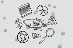 Imagen compuesta de Digitaces del márketing digital escrita en el cohete por los diversos iconos Fotografía de archivo libre de regalías