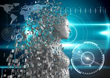 Imagen compuesta de Digitaces del ser humano 3d sobre fondo azul que brilla intensamente Fotografía de archivo