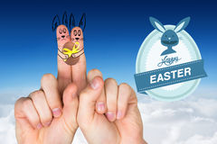 Imagen compuesta de fingeres como conejito de pascua Foto de archivo libre de regalías