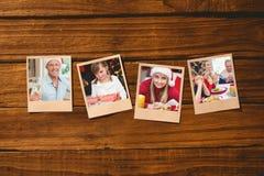 Imagen compuesta de fotos inmediatas en piso de madera Foto de archivo