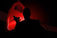 Imagen compuesta de la cerradura roja brillante en fondo negro Fotos de archivo libres de regalías