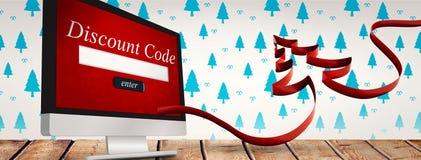 Imagen compuesta de la cinta en la forma del árbol de navidad Fotografía de archivo