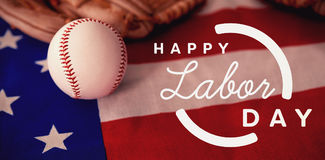 Imagen compuesta de la imagen compuesta digital del texto feliz del Día del Trabajo con el esquema azul ilustración del vector