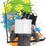 Imagen compuesta de la empresaria que muestra una tarjeta blanca delante de su cara Imagen de archivo