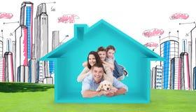 Imagen compuesta de la familia feliz que miente encima de uno a con el perro imagen de archivo
