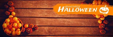 Imagen compuesta de la imagen gráfica horrible del texto de Halloween Fotografía de archivo