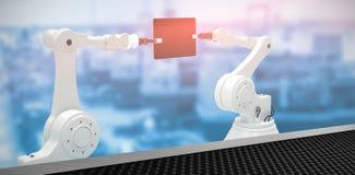 Imagen compuesta de la imagen compuesta de robots con la tableta 3d del ordenador Imagen de archivo libre de regalías