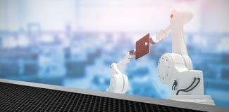 Imagen compuesta de la imagen compuesta de robots con la tableta digital 3d Fotos de archivo