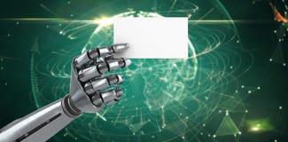 Imagen compuesta de la imagen compuesta del cartel blanco robótico 3d de la tenencia de brazo Imágenes de archivo libres de regalías