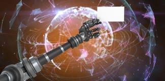 Imagen compuesta de la imagen compuesta digital del cartel blanco robótico 3d de la tenencia de brazo Imágenes de archivo libres de regalías
