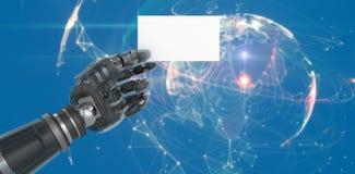 Imagen compuesta de la imagen cosechada del cartel robótico compuesto digital 3d del espacio en blanco de la tenencia de brazo Foto de archivo libre de regalías