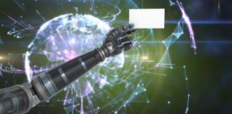 Imagen compuesta de la imagen cosechada del espacio en blanco robótico digital 3d de la tenencia de brazo Fotografía de archivo