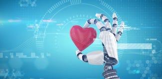 Imagen compuesta de la imagen 3d del cyborg que sostiene la decoración roja de la forma del corazón