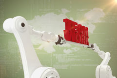 Imagen compuesta de la imagen del gráfico de ordenador del texto robótico del trabajo del equipo de la tenencia de la mano Imagenes de archivo