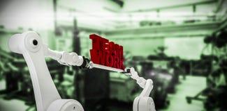 Imagen compuesta de la imagen del gráfico de ordenador del texto robótico del trabajo del equipo de la tenencia de la mano Imágenes de archivo libres de regalías