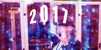 Imagen compuesta de la imagen digital del Año Nuevo 2017 Fotos de archivo libres de regalías