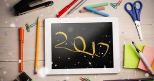 Imagen compuesta de la imagen digital del Año Nuevo escrita con cinta métrica Fotografía de archivo libre de regalías