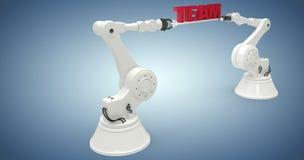 Imagen compuesta de la imagen gráfica de brazos robóticos con el texto 3d Foto de archivo libre de regalías