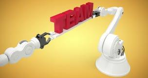 Imagen compuesta de la imagen gráfica de brazos robóticos con el texto rojo 3d Fotografía de archivo