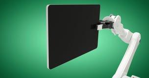 Imagen compuesta de la imagen gráfica de la tableta digital con el robot 3d Imágenes de archivo libres de regalías