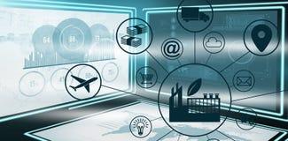Imagen compuesta de la imagen compuesta de la industria en medio de diversos iconos stock de ilustración