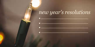 Imagen compuesta de la lista de la resolución de los Años Nuevos Foto de archivo
