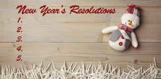 Imagen compuesta de la lista de la resolución de los Años Nuevos Imagen de archivo