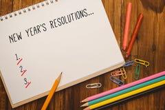 Imagen compuesta de la lista de la resolución de los Años Nuevos Fotografía de archivo