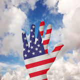 Imagen compuesta de la mano con los fingeres separados hacia fuera fotografía de archivo