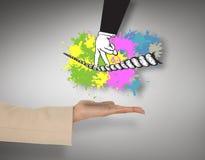 Imagen compuesta de la mano femenina que presenta la cuerda tirante que camina de los fingeres Imagen de archivo libre de regalías