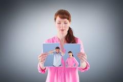 Imagen compuesta de la mujer que discute con la negligencia del hombre Imágenes de archivo libres de regalías