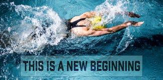 Imagen compuesta de la natación de la mujer del nadador en la piscina Fotografía de archivo libre de regalías