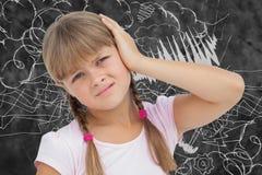 Imagen compuesta de la niña con dolor de cabeza libre illustration