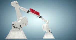 Imagen compuesta de la opinión de ángulo bajo de los robots que llevan a cabo el texto 3d del equipo Fotos de archivo