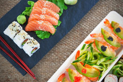 Imagen compuesta de la opinión de alto ángulo de la comida japonesa Imágenes de archivo libres de regalías