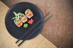 Imagen compuesta de la opinión de alto ángulo de la comida japonesa fresca Foto de archivo libre de regalías