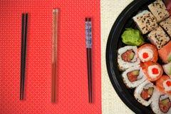 Imagen compuesta de la opinión de alto ángulo de la comida japonesa fresca Fotos de archivo libres de regalías