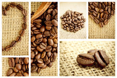 Imagen compuesta de la pala de madera con los granos de café Fotografía de archivo