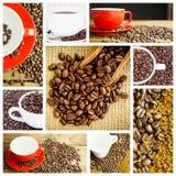 Imagen compuesta de la pala de madera con los granos de café Imagen de archivo libre de regalías