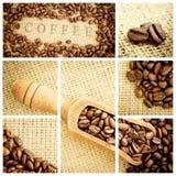 Imagen compuesta de la pala de madera por completo de los granos de café Imagenes de archivo